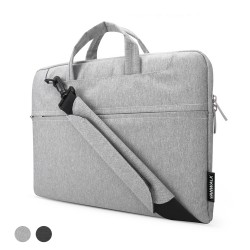 Laptop Sleeve Shoulder Bag Briefcase,Canvas Fabric Case for 13.3-15.4 Inch Laptop / Tablet / Macbook / Notebook(13.3inch,Grey)